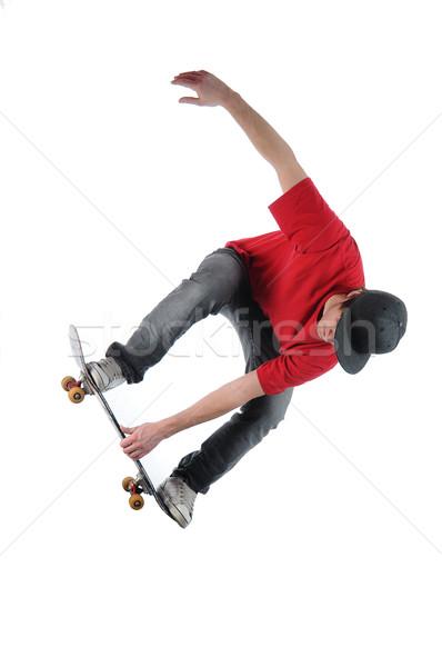 Сток-фото: скейтбордист · прыжки · изолированный · белый · спорт · Skate