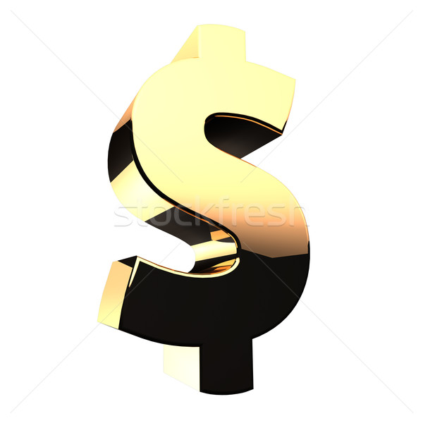Сток-фото: доллара · 3D · знак · белый