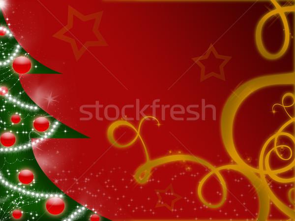 аннотация рождественская елка красный звезды Рождества украшение Сток-фото © gravityimaging