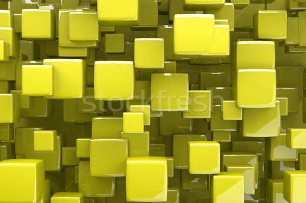 Résumé jaune 3D cubes architectural design Photo stock © gravityimaging