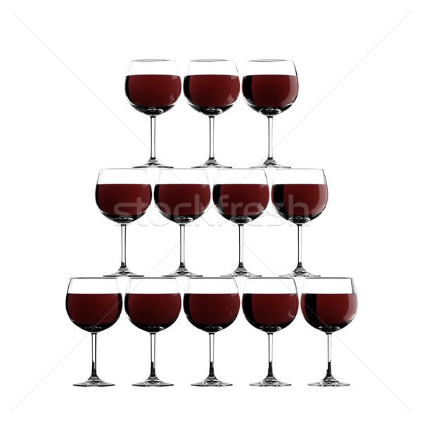 Red wine glass stack Stock photo © gravityimaging