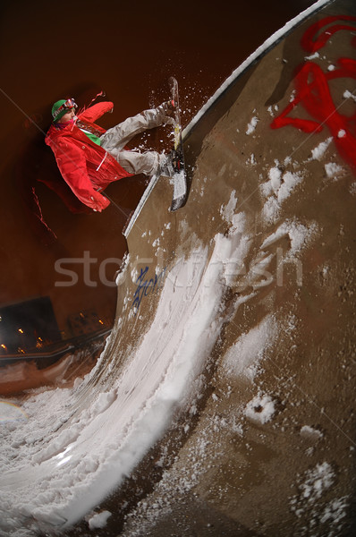 Jumping freestyle snowboarder Stock photo © gravityimaging