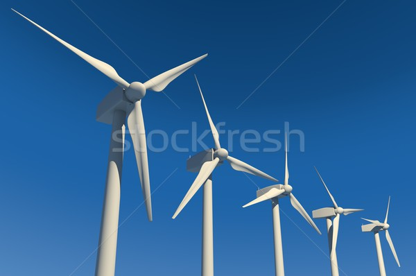 Five wind turbines on clear blue sky Stock photo © gravityimaging