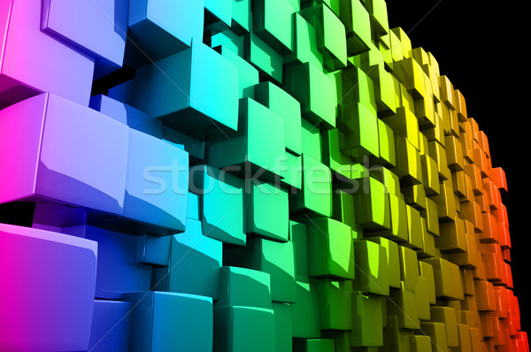 Abstract 3d rainbow colored cubes  Stock photo © gravityimaging