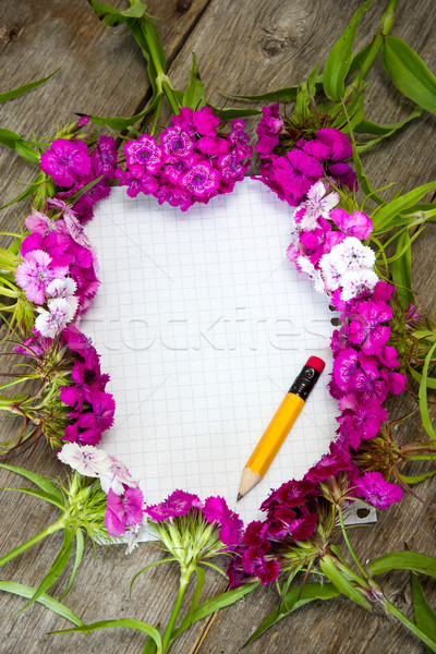 Wildflowers and empty paper Stock photo © Grazvydas