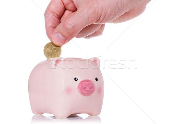 монеты Piggy Bank пятьдесят цент изолированный белый Сток-фото © Grazvydas