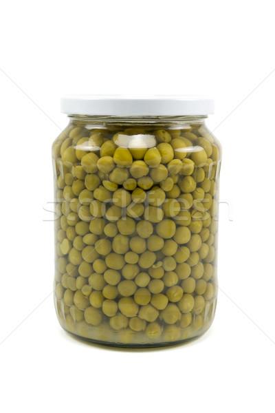 Glass jar of preserved peas Stock photo © Grazvydas