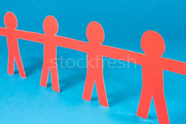 Juntos vermelho humanismo azul raso Foto stock © Grazvydas