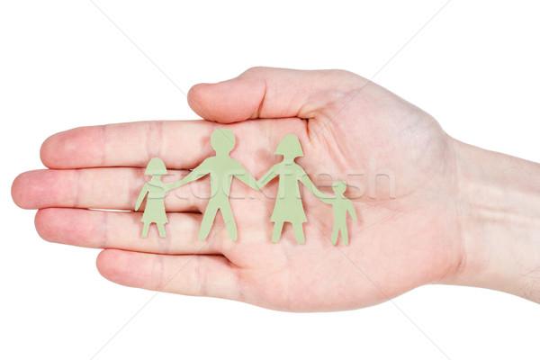 Papír család kéz izolált fehér boldog Stock fotó © Grazvydas