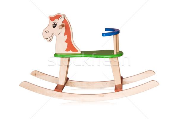Bois cheval à bascule isolé blanche sourire cheval Photo stock © Grazvydas