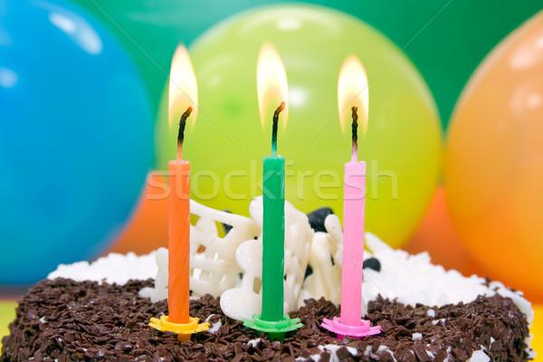 С Днем Рождения торт три цвета свечей рождения Сток-фото © Grazvydas