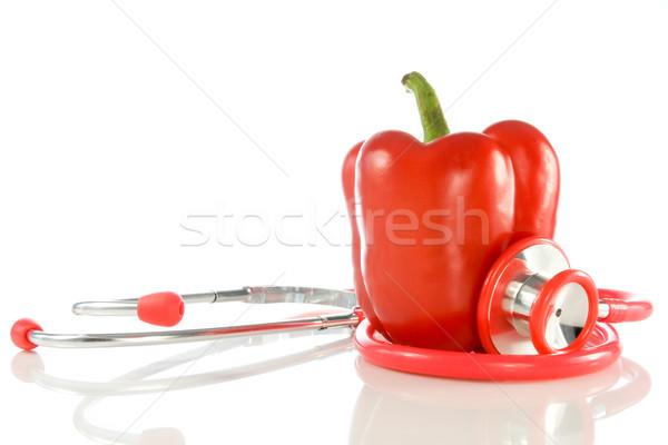 Rosso pepe stetoscopio bianco alimentare medici Foto d'archivio © Grazvydas