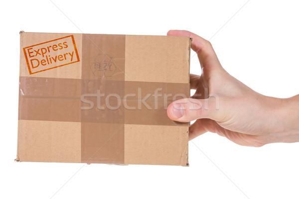 速達便 手 パッケージ 孤立した 白 ストックフォト © Grazvydas