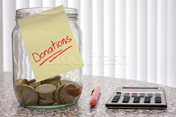 Segítség bögre pénz számológép érmék mentés Stock fotó © Grazvydas