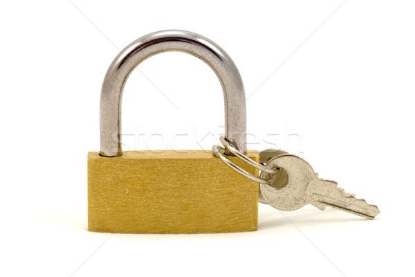 Mały kłódki klucze odizolowany biały metal Zdjęcia stock © Grazvydas