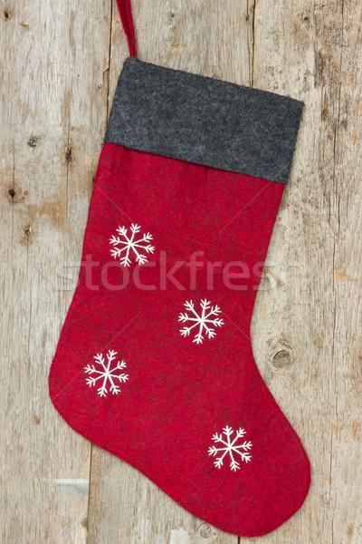 christmas sock hung on the wooden wall Stock photo © Grazvydas