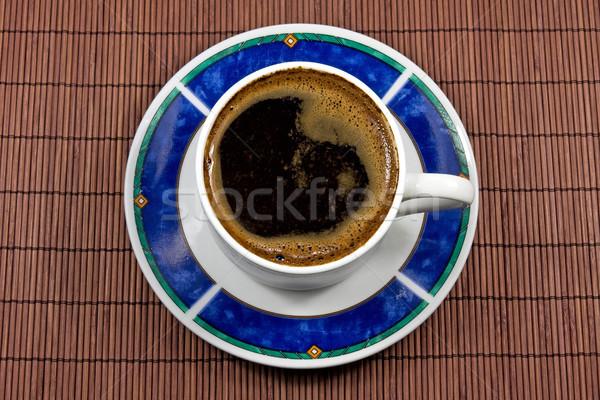 чашку кофе бамбук скатерть Кубок перерыва Сток-фото © Grazvydas