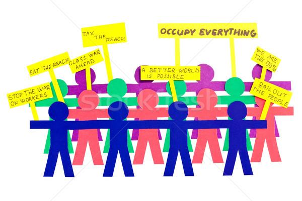 люди забастовка бумаги плакатов дизайна толпа Сток-фото © Grazvydas