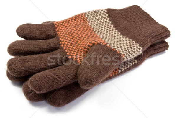 Stockfoto: Warm · wollen · gebreid · handschoenen · witte