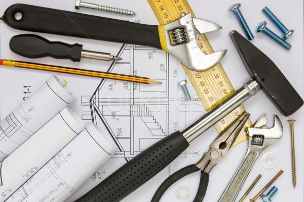 строительство инструменты чертежи проект бумаги Сток-фото © Grazvydas