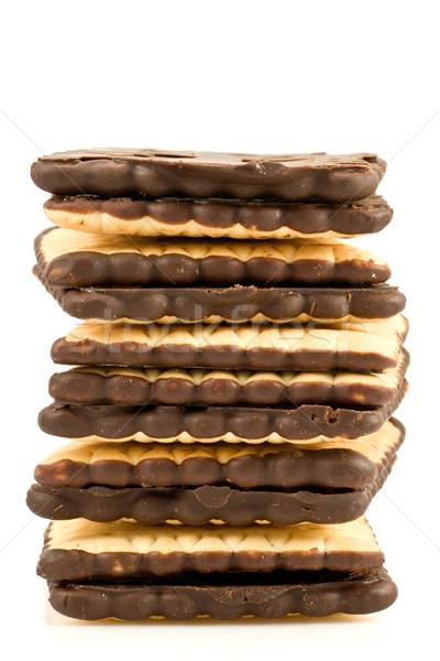 Chocolade cookies hoop geïsoleerd witte toren Stockfoto © Grazvydas