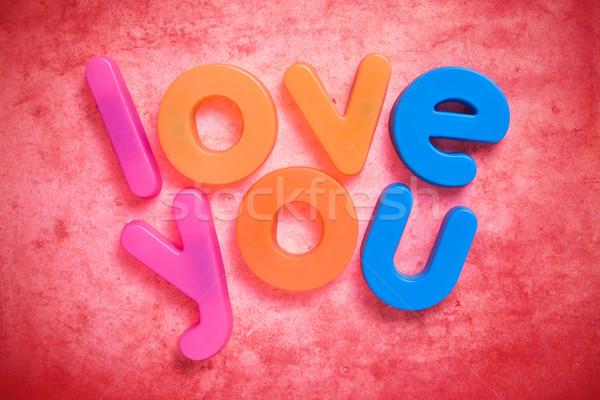 Liebe Worte geschrieben farbenreich Schreiben Magnete Stock foto © Grazvydas