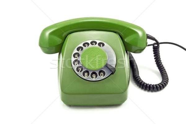 Starych zielone analog telefonu biały technologii Zdjęcia stock © Grazvydas