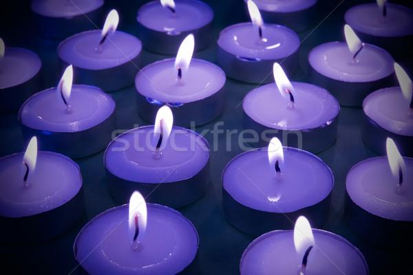 Luz de una vela vista velas oscuridad Foto stock © Grazvydas