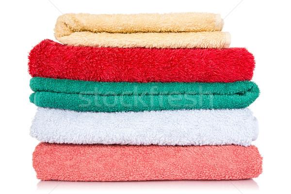 Bagno asciugamani colorato bianco pulizia cotone Foto d'archivio © Grazvydas