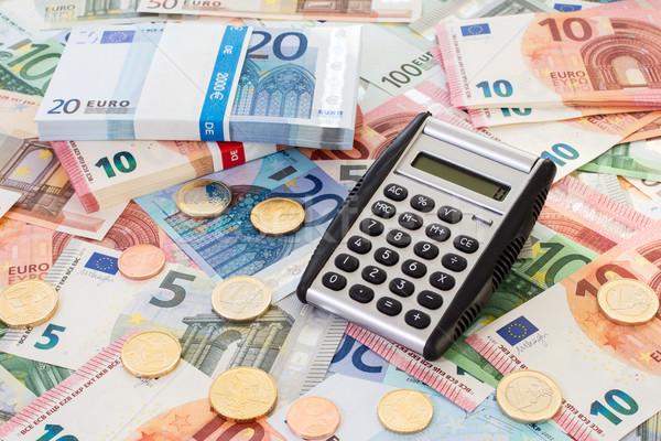 Rechner Euro stellt fest Münzen Finanzierung Business Stock foto © Grazvydas