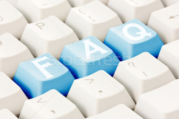 Faq écrit clavier boutons texte Photo stock © Grazvydas