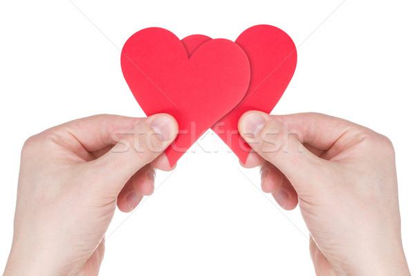 Eller iki kırmızı kâğıt kalpler Stok fotoğraf © Grazvydas