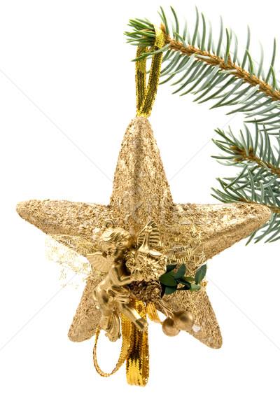Рождества звездой ангела белый дерево зима Сток-фото © Grazvydas