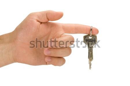 El tuşları işaret parmağı beyaz iş ev Stok fotoğraf © Grazvydas