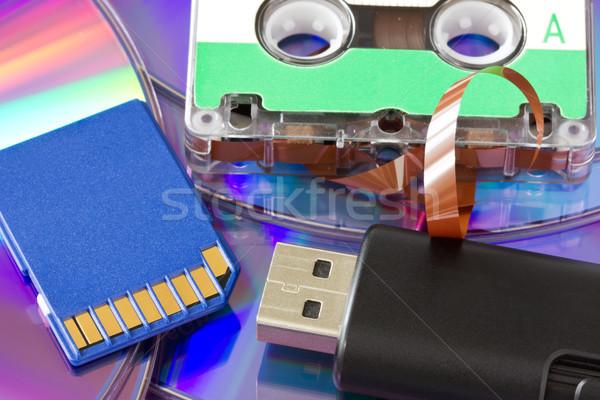 Vecchio nuovo media stoccaggio carta audio Foto d'archivio © Grazvydas