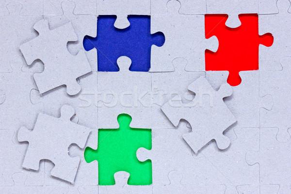 Stockfoto: Puzzel · verschillend · gekleurd · stukken