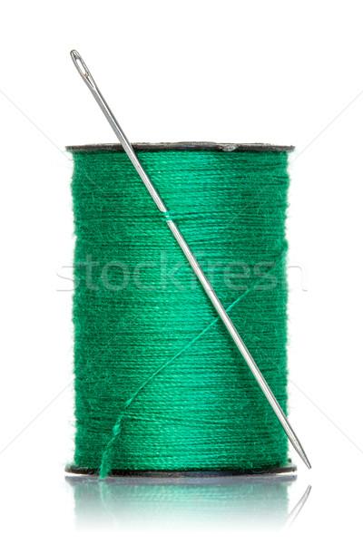 スプール 緑 スレッド 針 孤立した 白 ストックフォト © Grazvydas