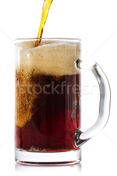 Escuro cerveja vidro isolado branco Foto stock © Grazvydas