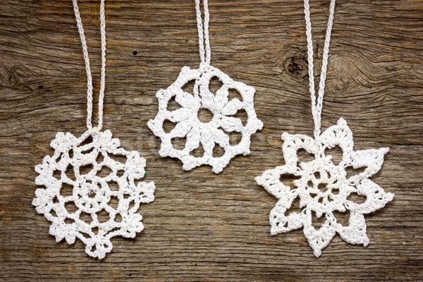 Crochet christmas snowflakes Stock photo © Grazvydas