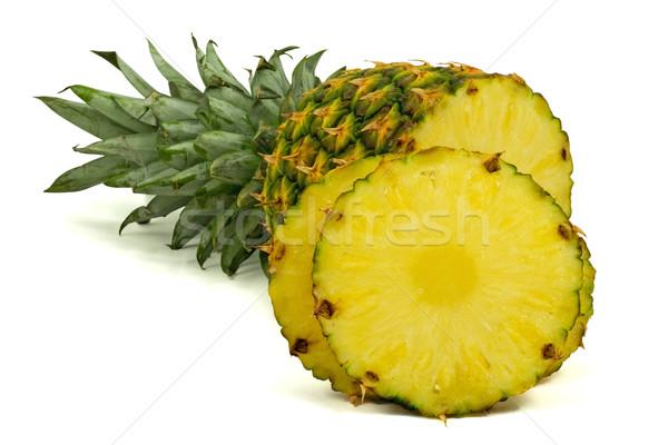 Ananas weiß isoliert grünen Blätter Stock foto © Grazvydas