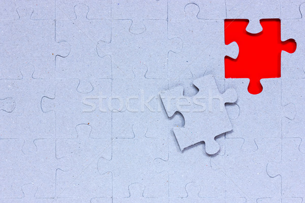 Blue puzzle with missing piece Stock photo © Grazvydas
