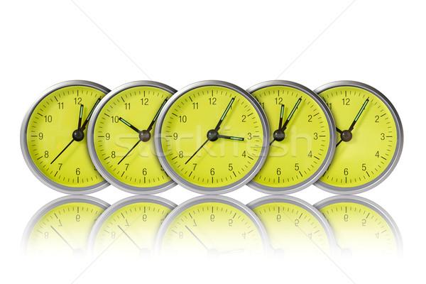 Verde orologi fila bianco faccia clock Foto d'archivio © Grazvydas