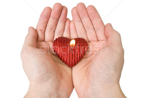 Mum eller yalıtılmış beyaz sevmek kalp Stok fotoğraf © Grazvydas