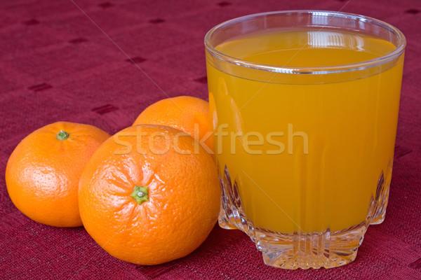mandarines and glass of juice Stock photo © Grazvydas