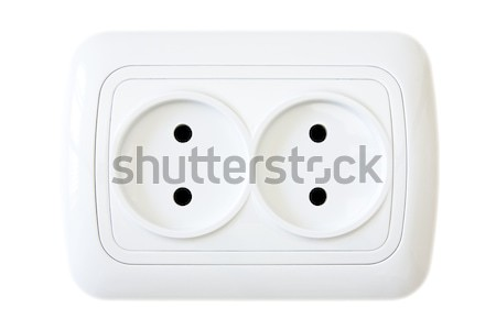 white electric outlet on wooden wall Stock photo © Grazvydas