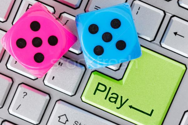 Online rot blau Würfel Computer-Tastatur Stock foto © Grazvydas