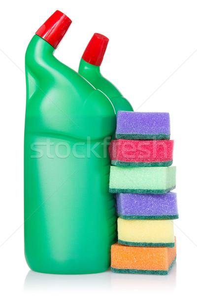 Plástico garrafas produtos de limpeza cozinha isolado branco Foto stock © Grazvydas