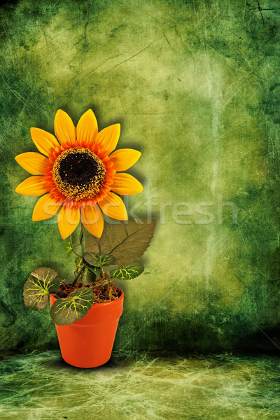 Artificiale girasole buio verde giallo abstract Foto d'archivio © Grazvydas