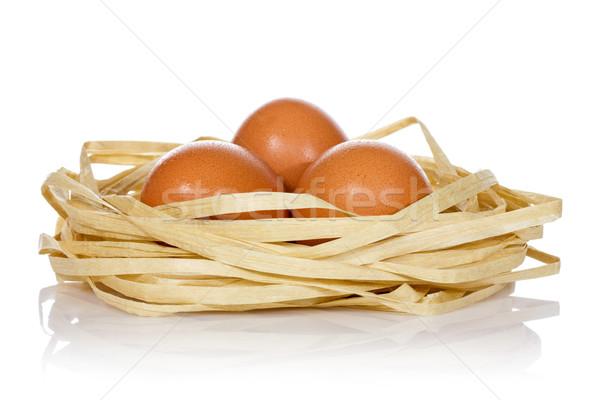 Сток-фото: три · яйца · гнезда · белый · яйцо · свежие