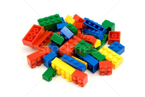 Stock fotó: Színes · műanyag · kockák · fehér · építkezés · terv
